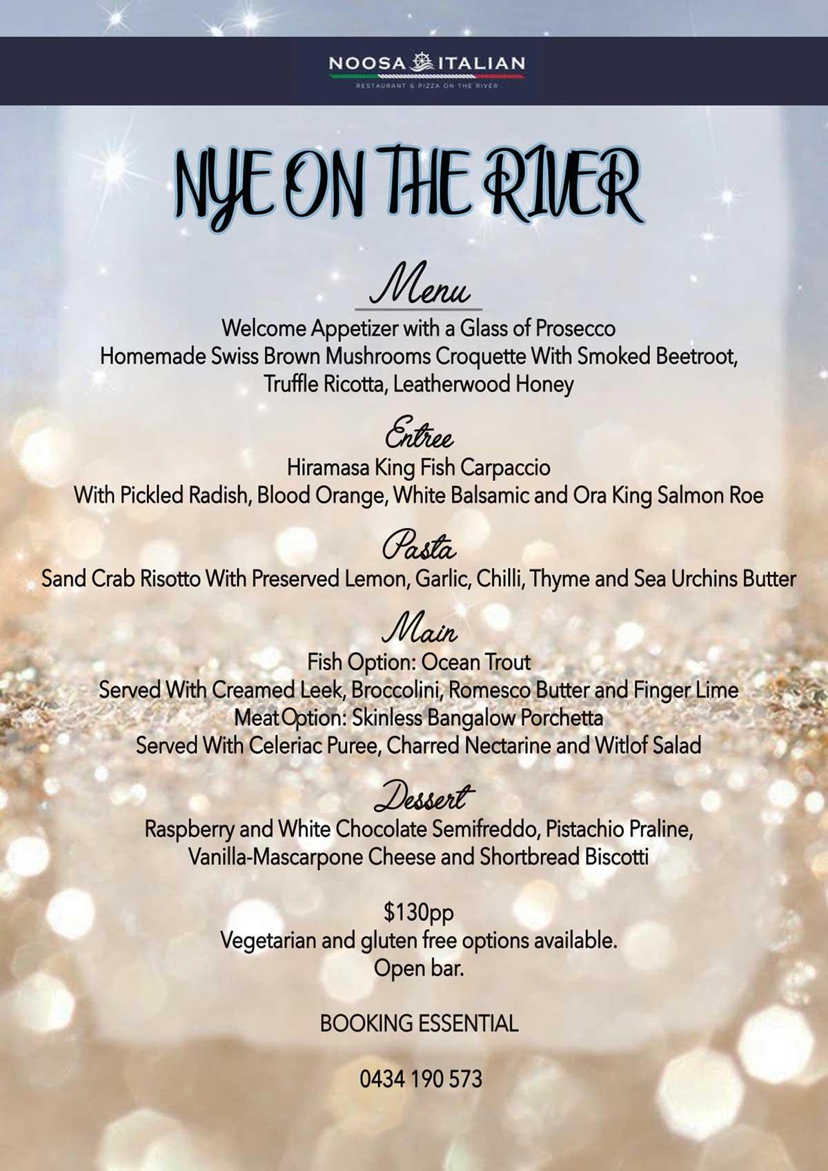 Noosa Italian New Year's Eve menu 2020