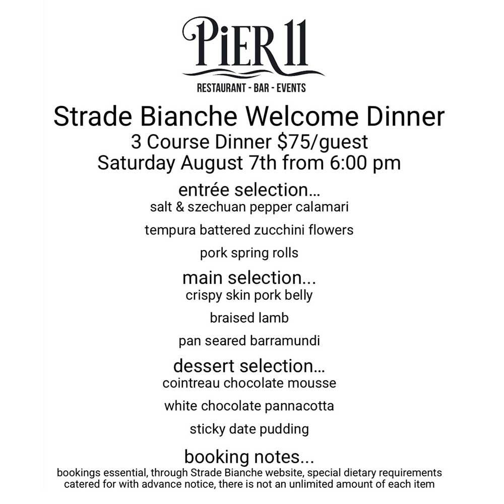 Pier 11 Strade Bianche Welcome Dinner menu