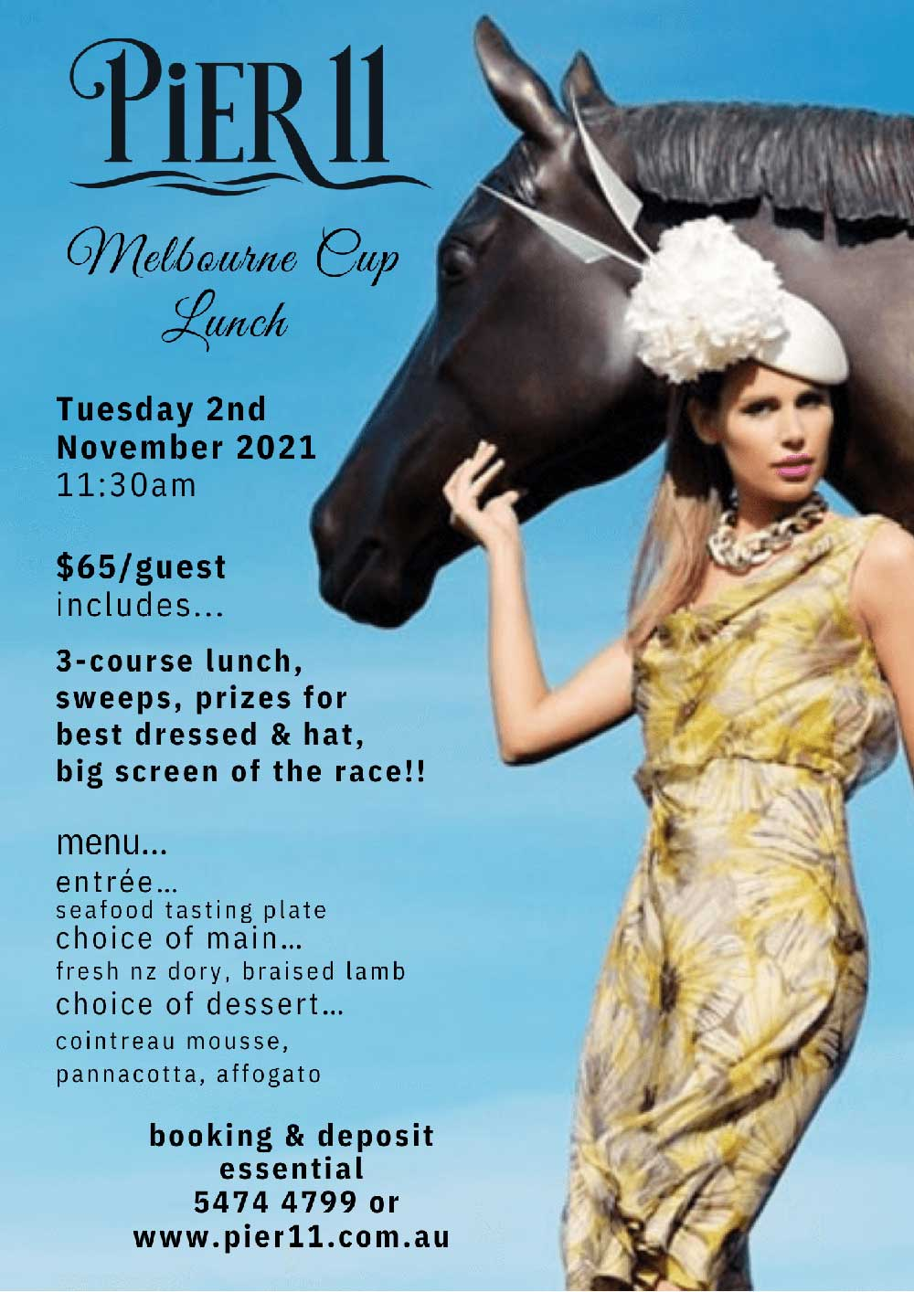 Flyer for Melbourne Cup 2021 lunch at Pier 11